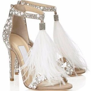 Shoes - Feather and crystal embellished heels Size 9 nwot